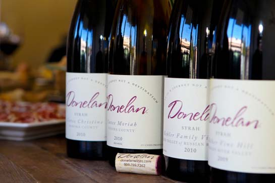 Four bottles of Donelan wines